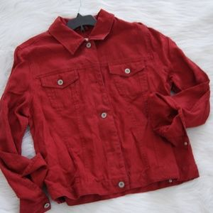 Eddie Bauer red linen jacket sz PM